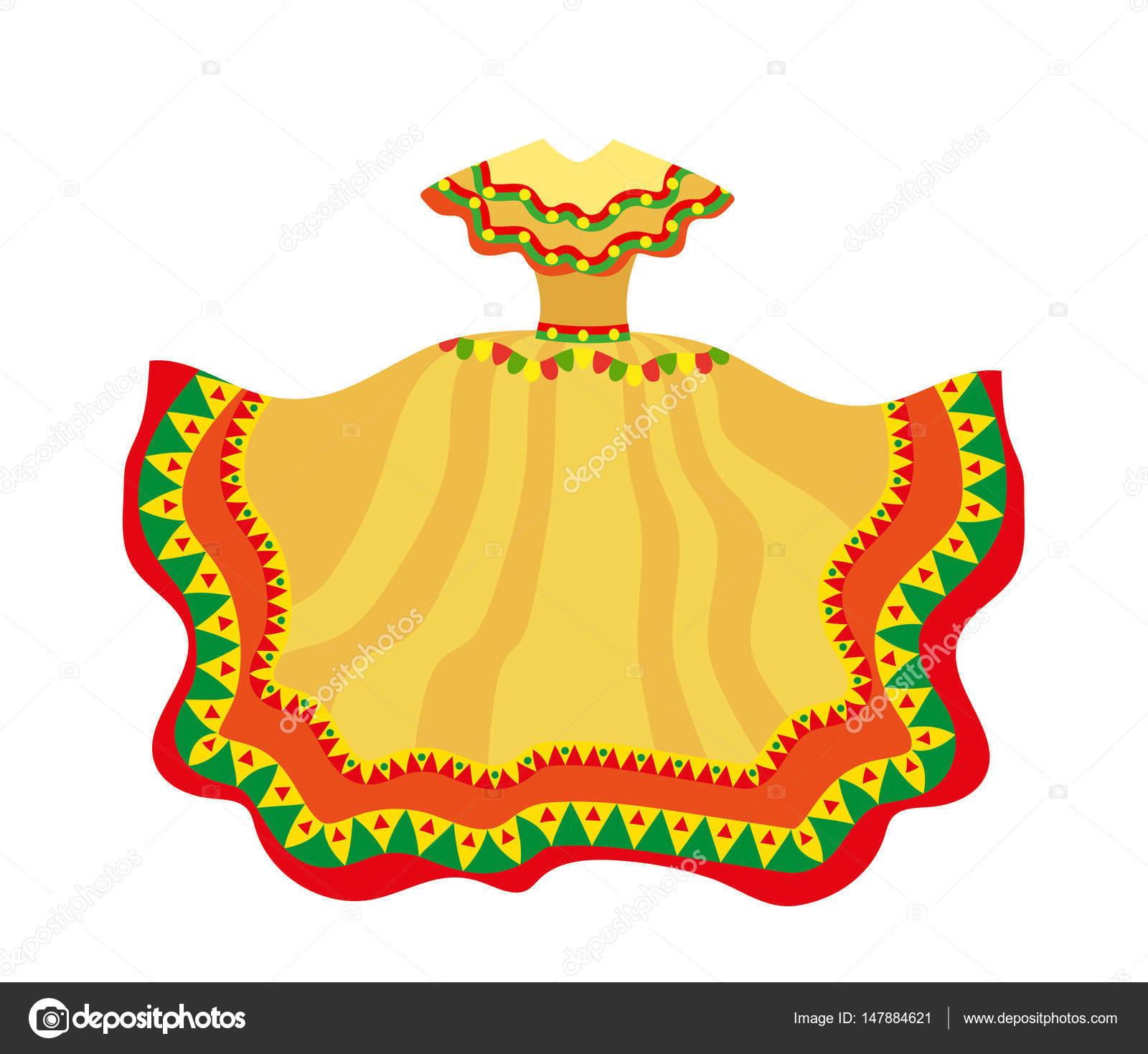 Vector Vestido Mexicano Vestido Mexicano Icono De Estilo