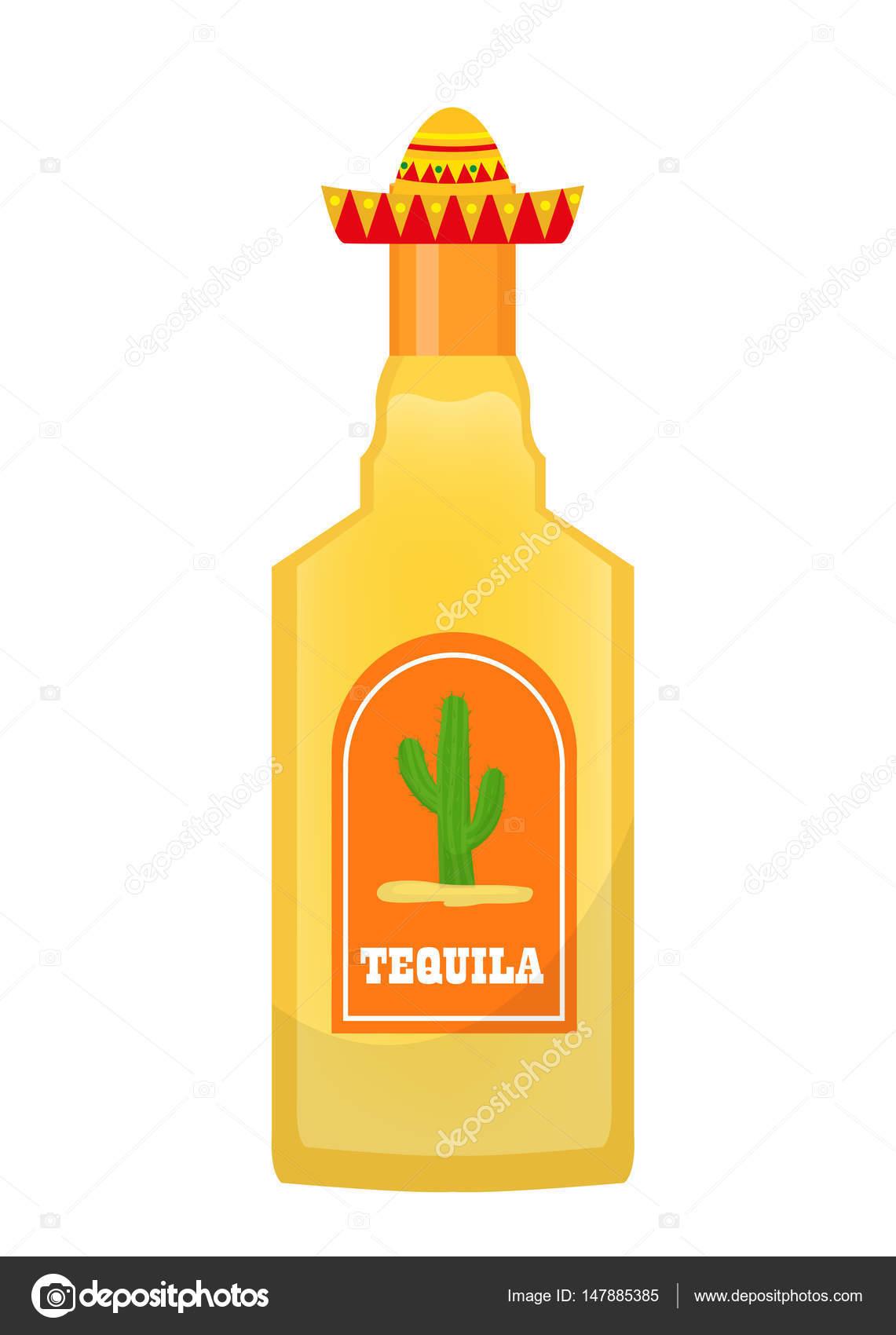 Tequila-Flasche-Symbol flach, isoliert auf weißem Hintergrund ...