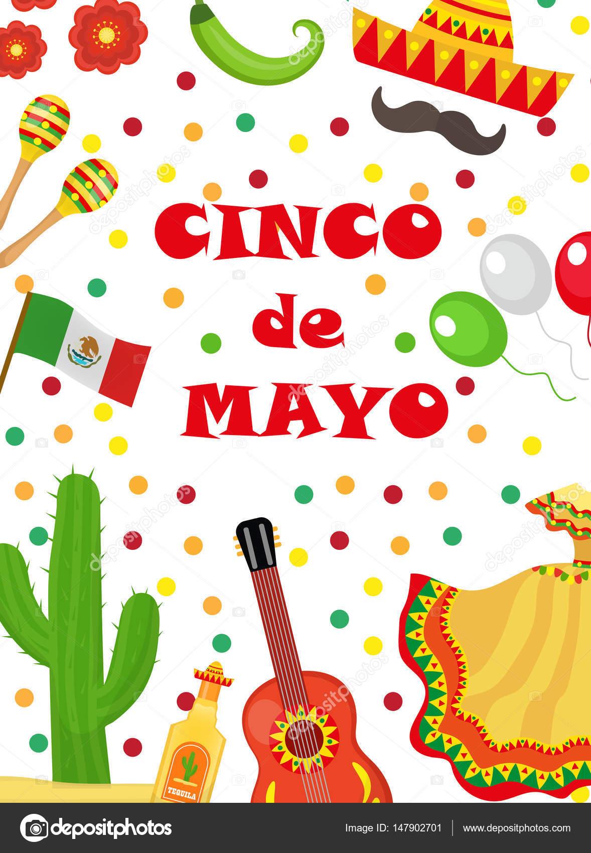 Vectores Invitacion De Cumpleaños Mexicana Cinco De Mayo