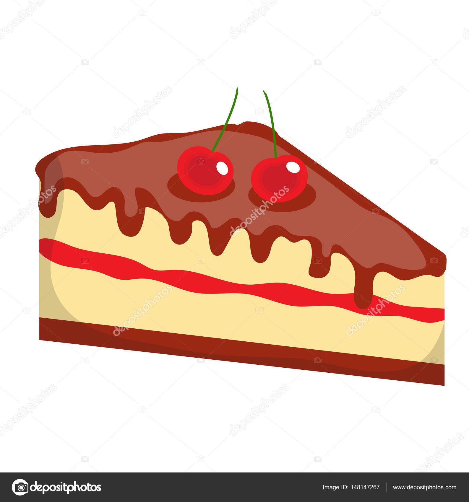 Kasekuchen Kuchen Icon Wohnung Cartoon Stil Isoliert Auf Weissem