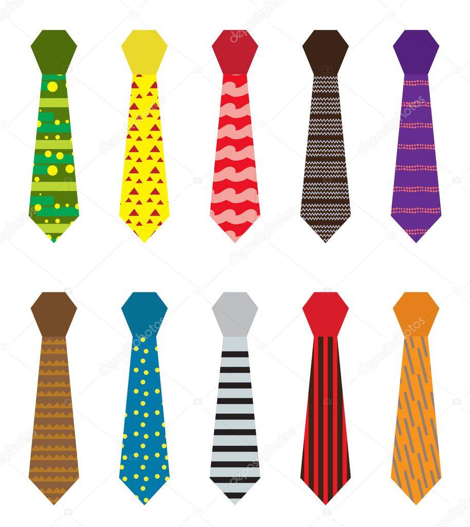Set di cravatte multicolore con diversi modelli giorno di padri o mens moda concetto isolato su - Diversi stili di moda ...