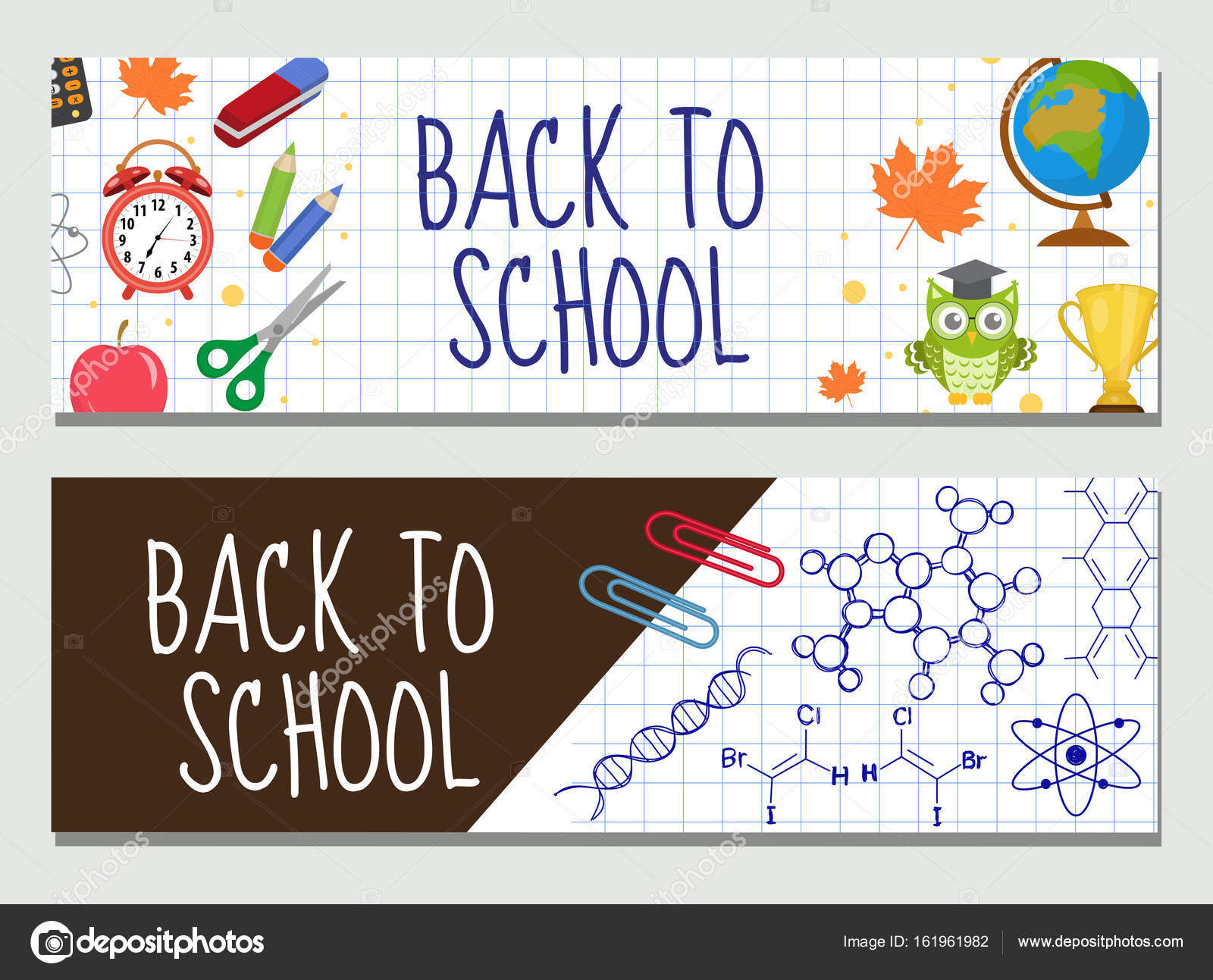 Back to school set of banners, template with space for text for your