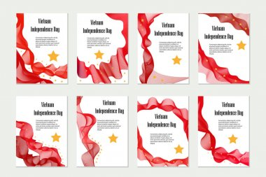 Vietnam Independence Day. Set of templates, brochures, flyers for your design in national flag colors. Vector illustration.