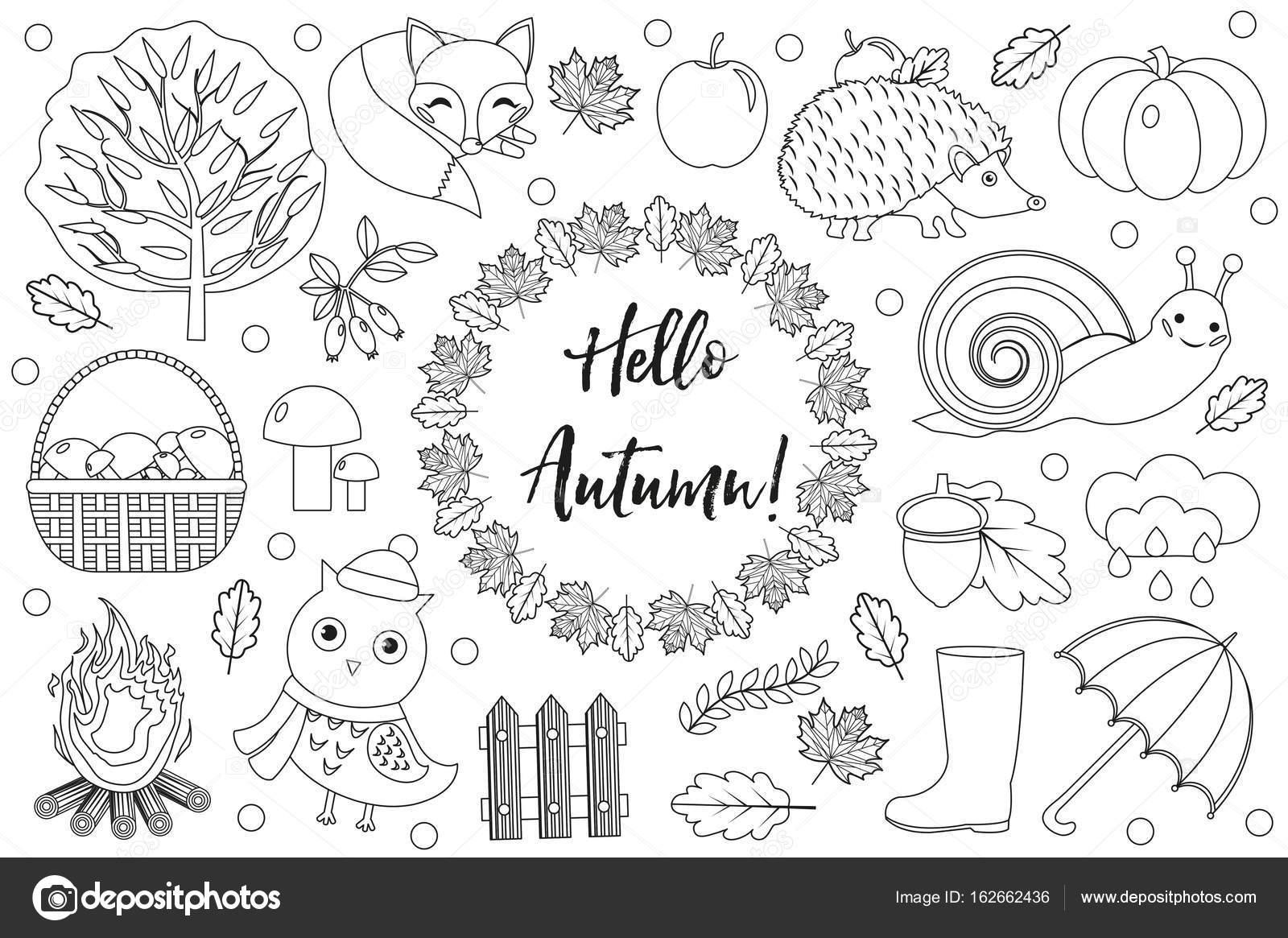 Hola otoño iconos conjunto sketch, dibujo de la mano, doodle estilo ...
