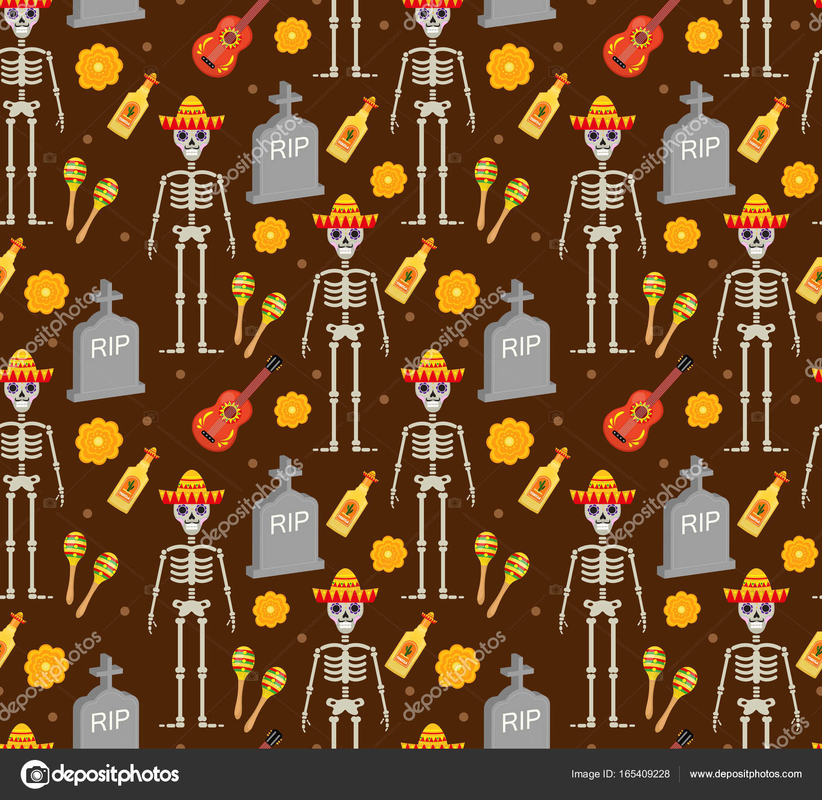 Day Of The Dead Holiday In Mexico Seamless Pattern With Sugar Skulls Skeleton Endless Background Dia De Muertos Repeating Texture