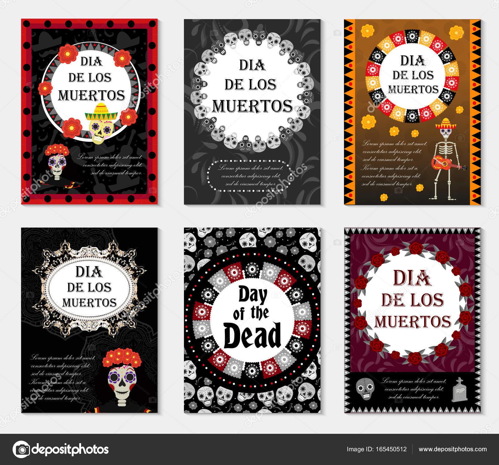 Tag der Toten Set Flyer, Plakat, Einladung mit Rosen, Skelett und ...