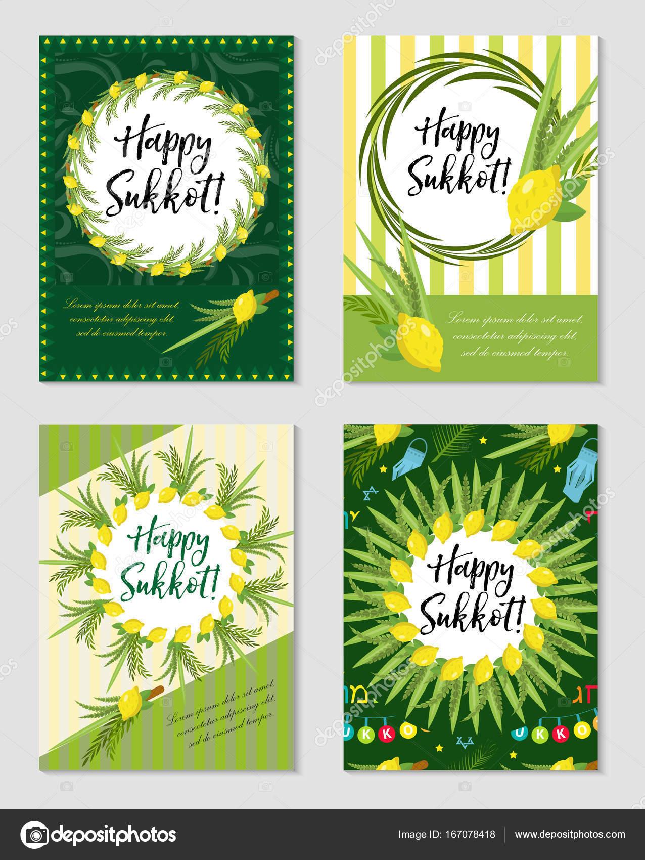 Glücklich Sukkot Reihe von Flyer oder Poster. Sukkot-Sammlung von ...