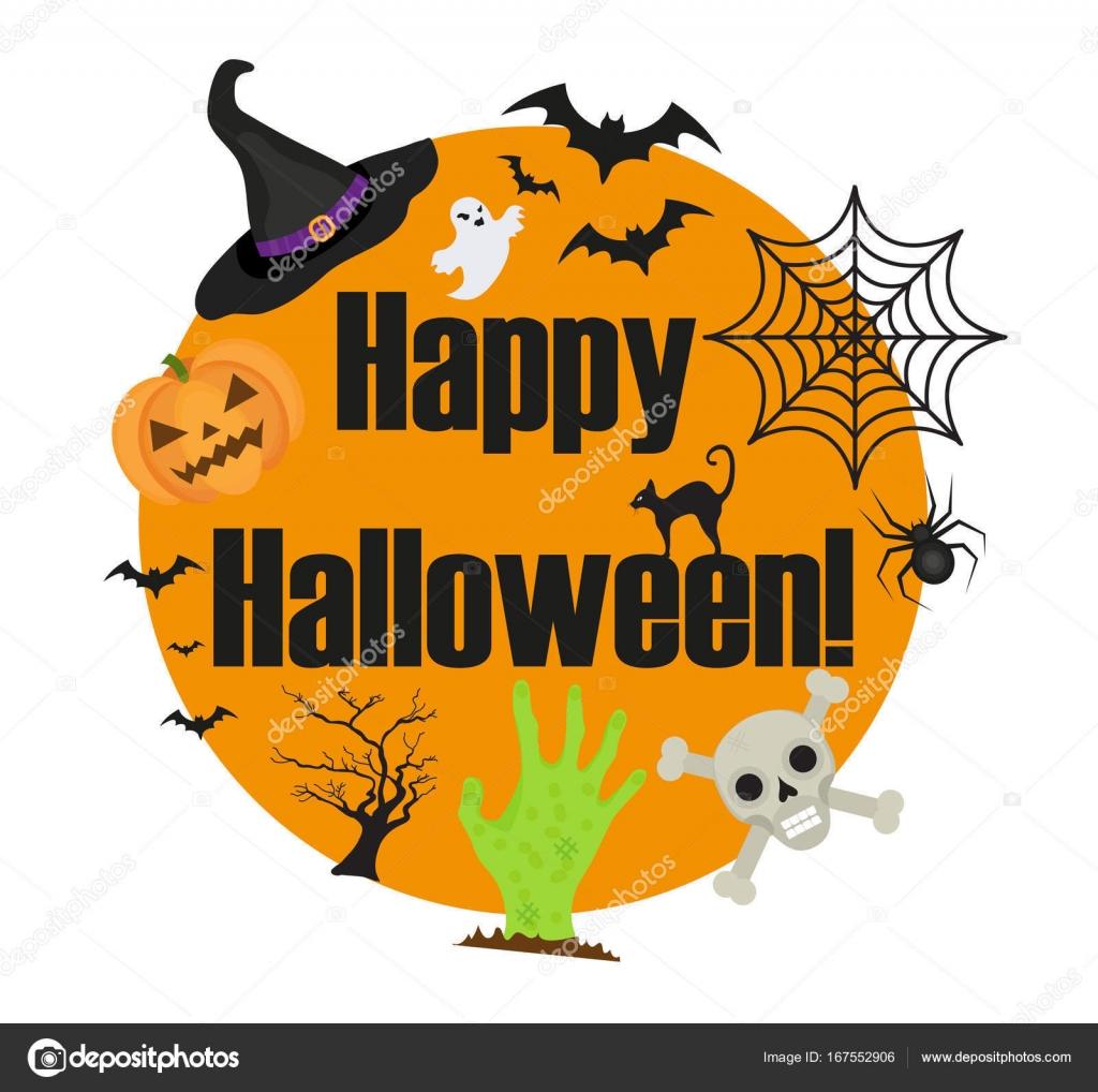 Halloween redondo marco para texto con una araña, calabaza, sombrero ...