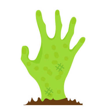 Hand zombie icon flat style. Isolated on white background. Vector illustration.