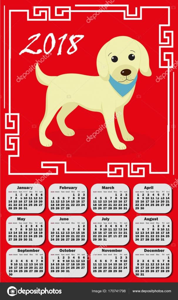 Calendario 2018 en el estilo asia con marco chino y perro. La semana ...
