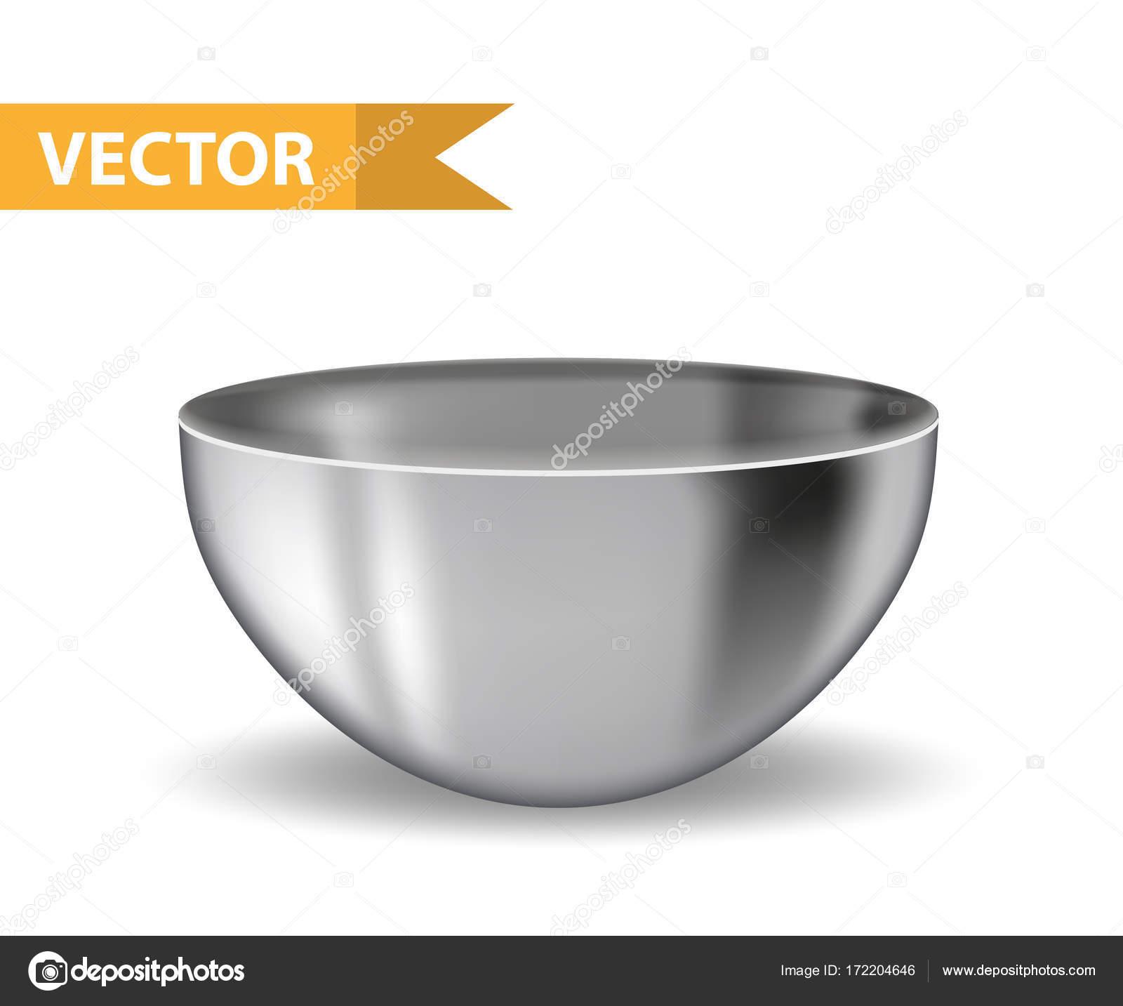 Bowl acero 3d realista. Plato hondo de hierro. Utensilios para ...