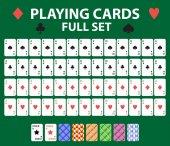 Fotografie Spielkarten volle Deck für Poker, black Jack. Kollektion mit einem Joker und Rücken. Auf einem grünen Hintergrund isoliert. Vektor-illustration