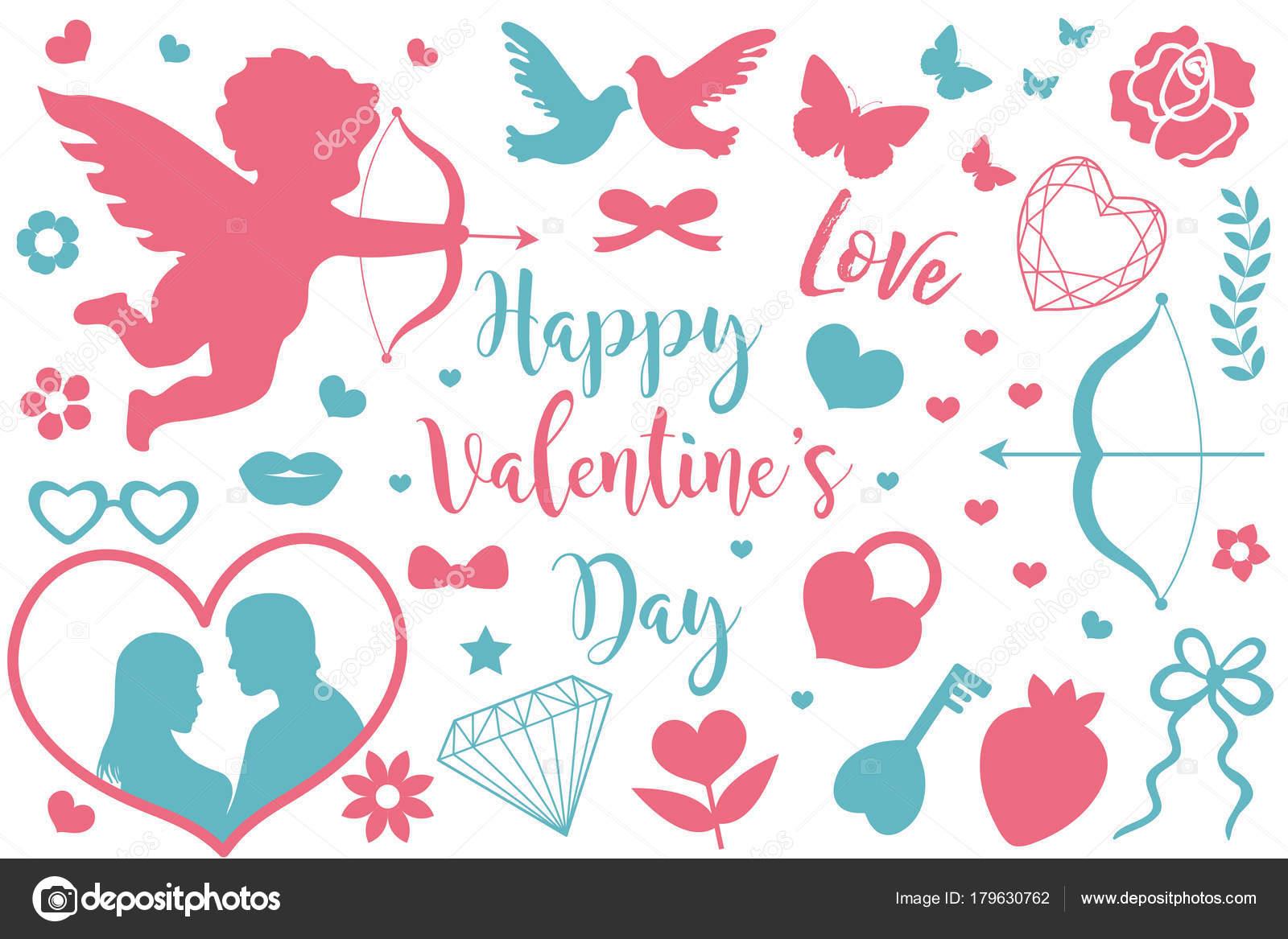 Happy Valentines Day Icon Set Of Stencil Silhouettes Cute Romance