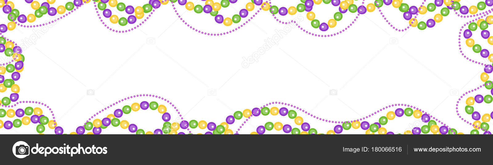 Mardi Gras beads colored frame, isolated on white background ...