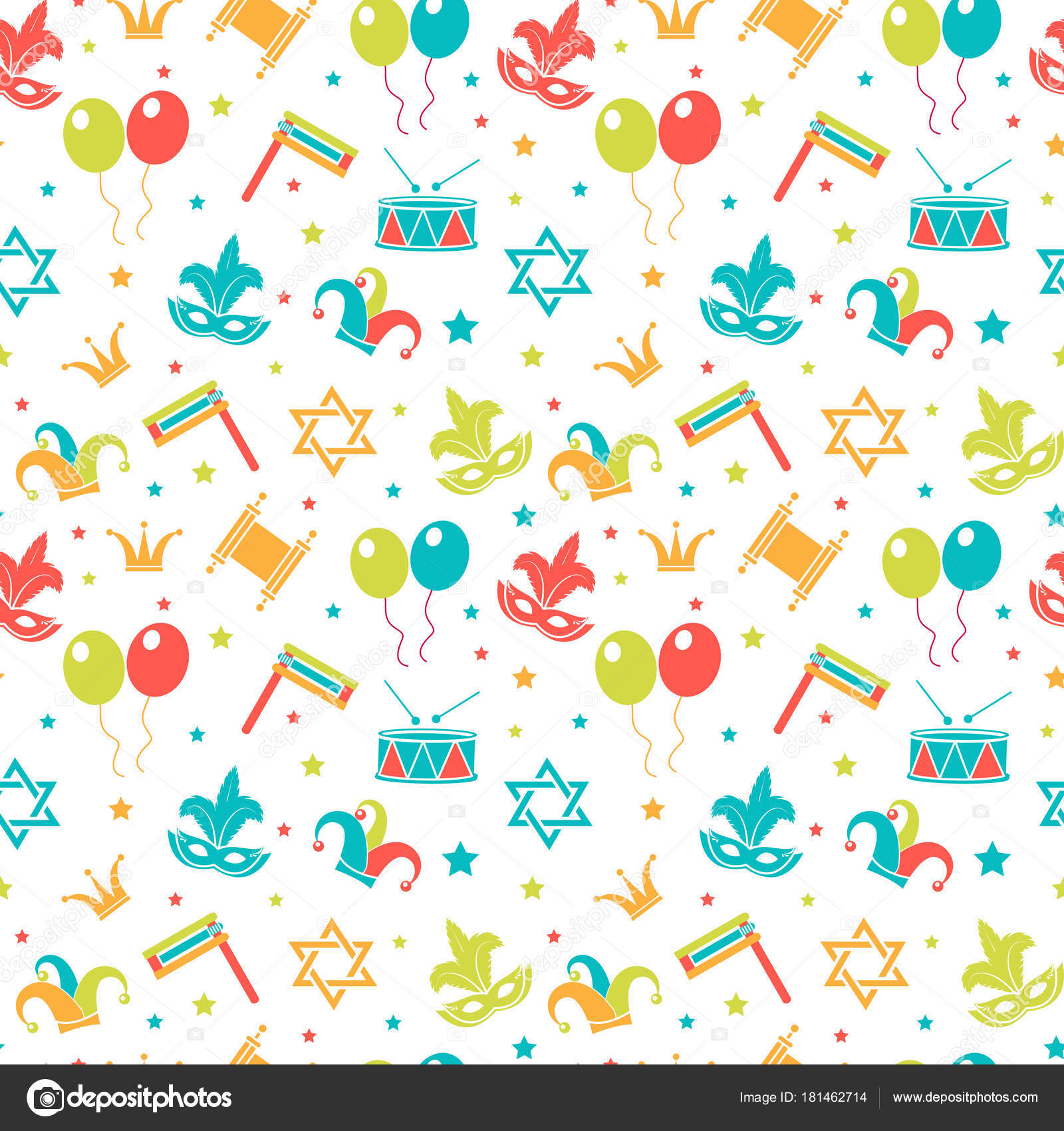 Carnival Seamless Pattern. Purim Repetitive Texture
