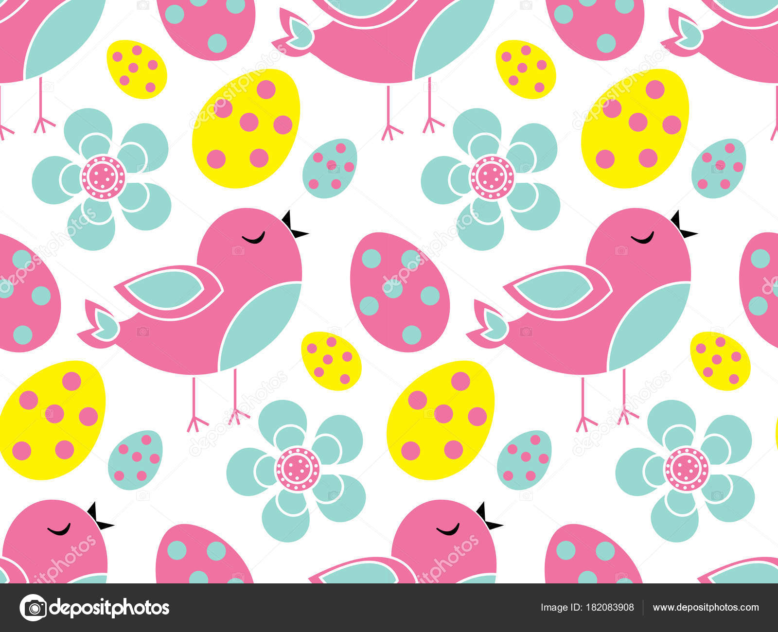 Cute Easter Seamless Pattern Spring Repeating Textures