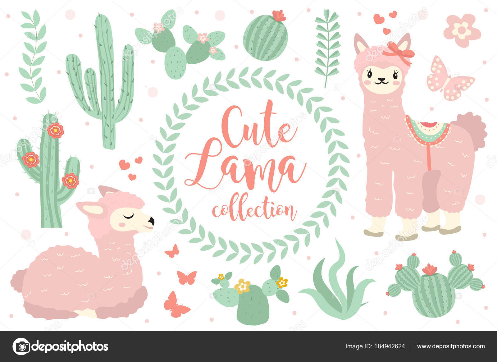 Cute lama set objects collection design elements with llama cactus isolated on white background alpaca princess character kids baby clip art funny smiling animal vector vector by amelie1 voltagebd Choice Image