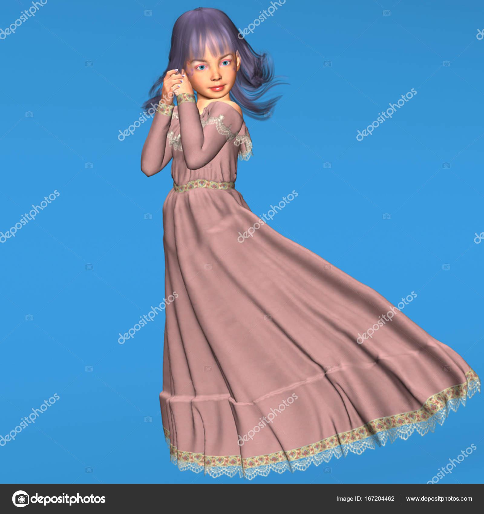 chica vestido de volantes de Maxi chicas poco rosa encaje manga ...