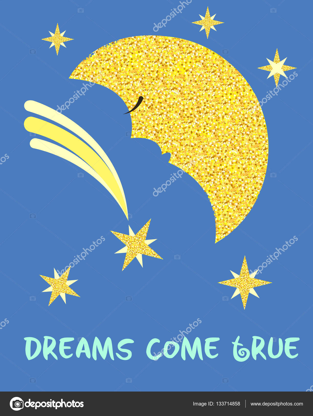 Paisajes De La Luna Con Frases Luna De Oro Y Estrellas
