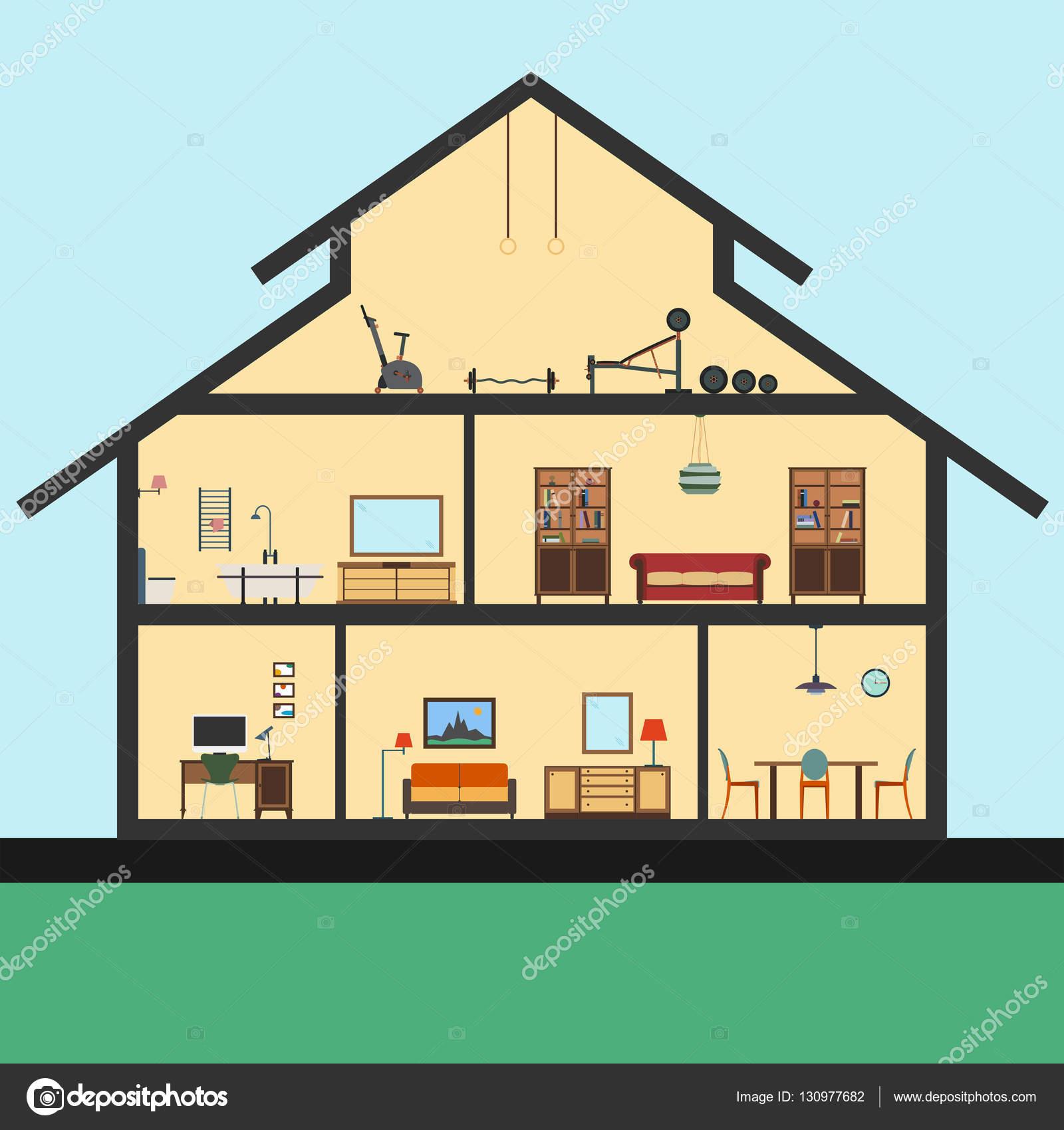 diferentes muebles en interiores estilo plano ilustracin grfica u foto de whilerests