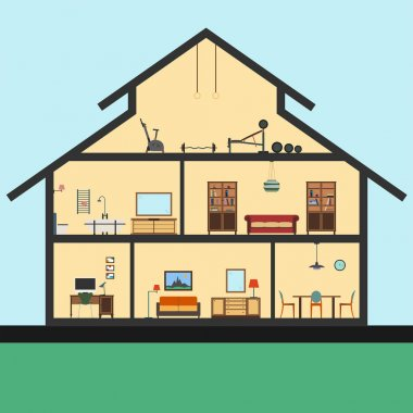 Detailed house in cut. Different modern furniture interiors. Flat style illustration