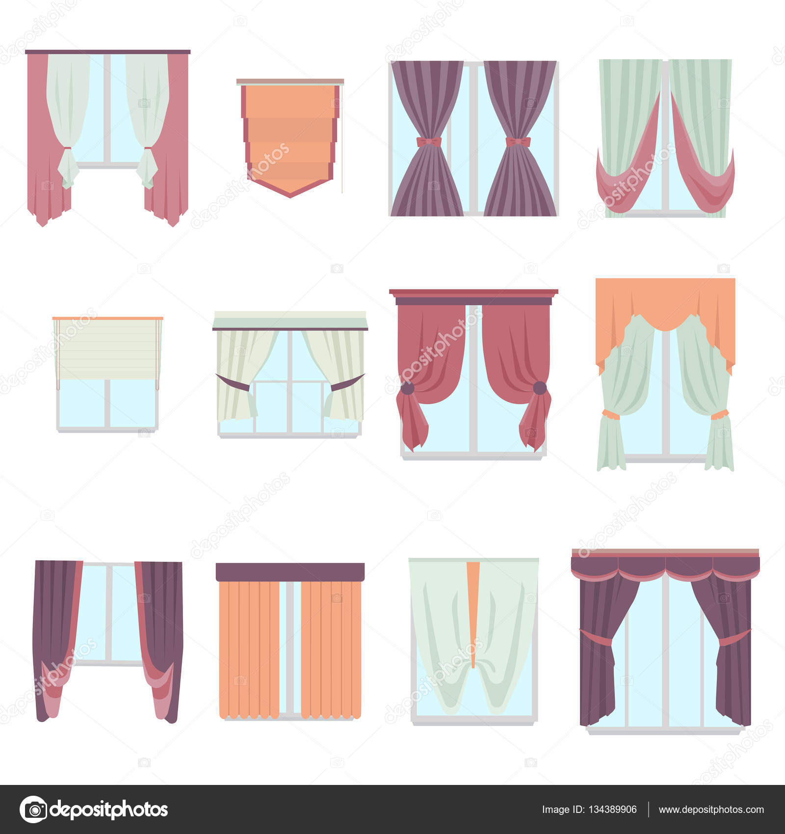 big collection of various window decoration curtains in flat style
