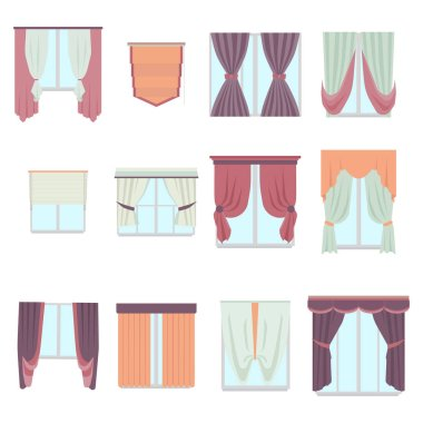 Big collection of various window decoration curtains in flat style. Home interior curtain isolated on white. Vector decor.