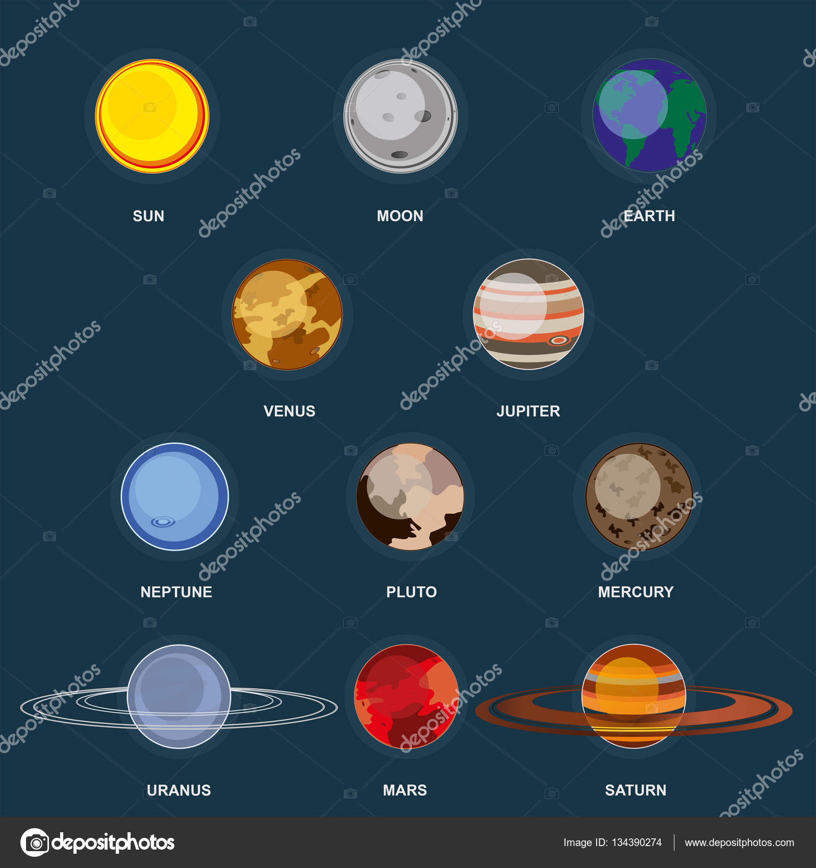Collection of planets on dark background outer space with for Outer space elements