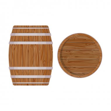 Wooden barrel with iron rings. Isolated on white background. Vector wood beer
