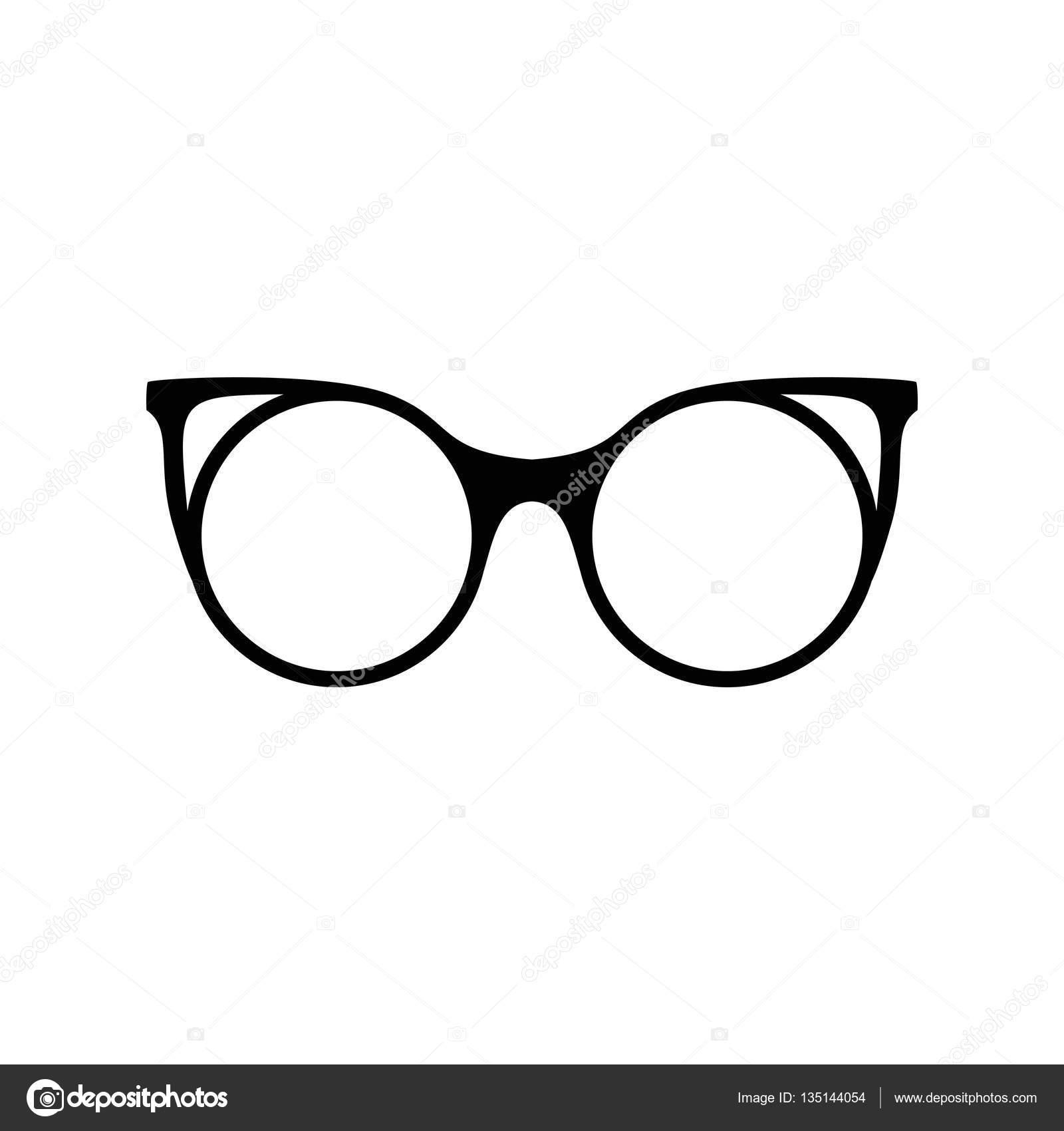b496c97f5feaa4 Retro bril. Zonnebril zwart silhouetten. Glazen oogpictogram.  Vectorillustratie — Vector van ...