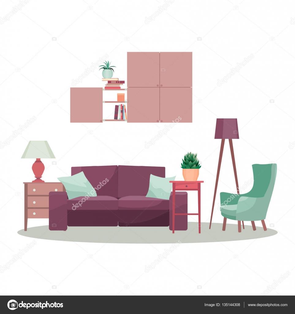 Modern 3d interior design concept illustration. Vector living room ...