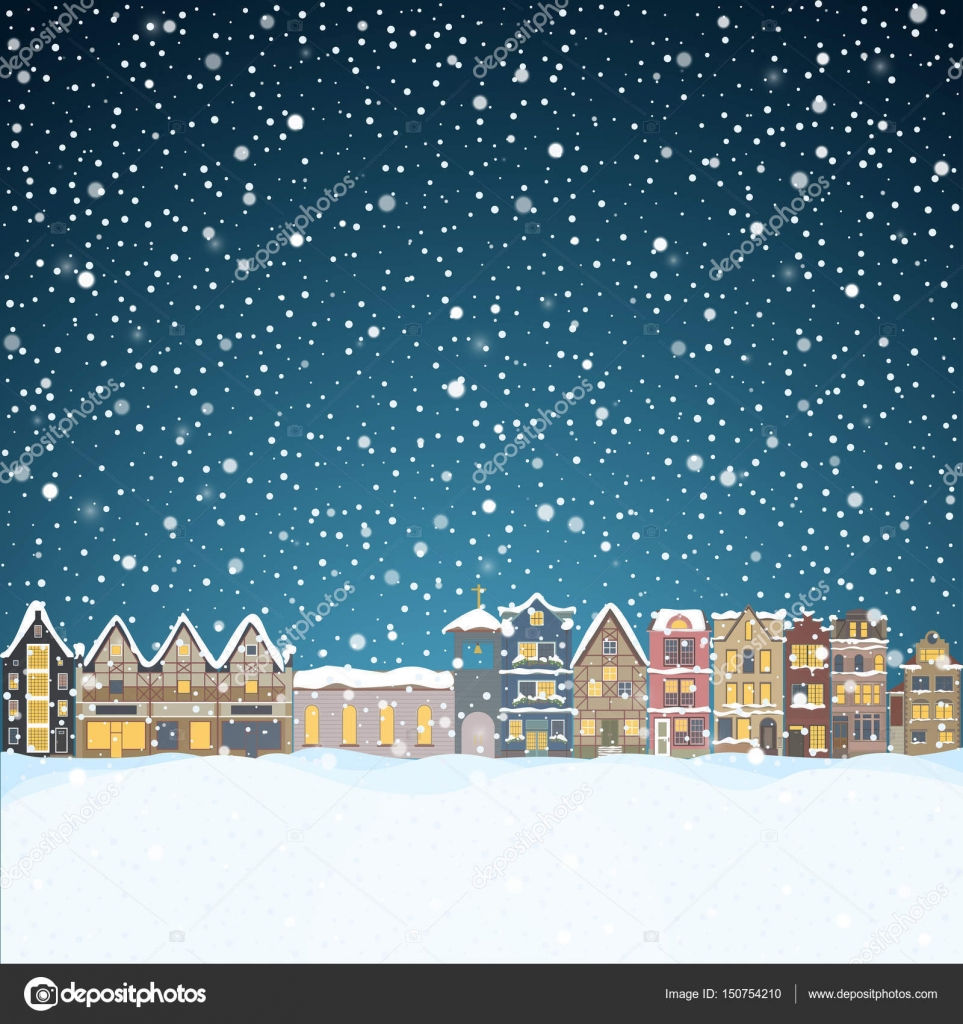 Christmas house in snowfall at the night happy holiday greeting christmas house in snowfall at the night happy holiday greeting card with town skyline m4hsunfo