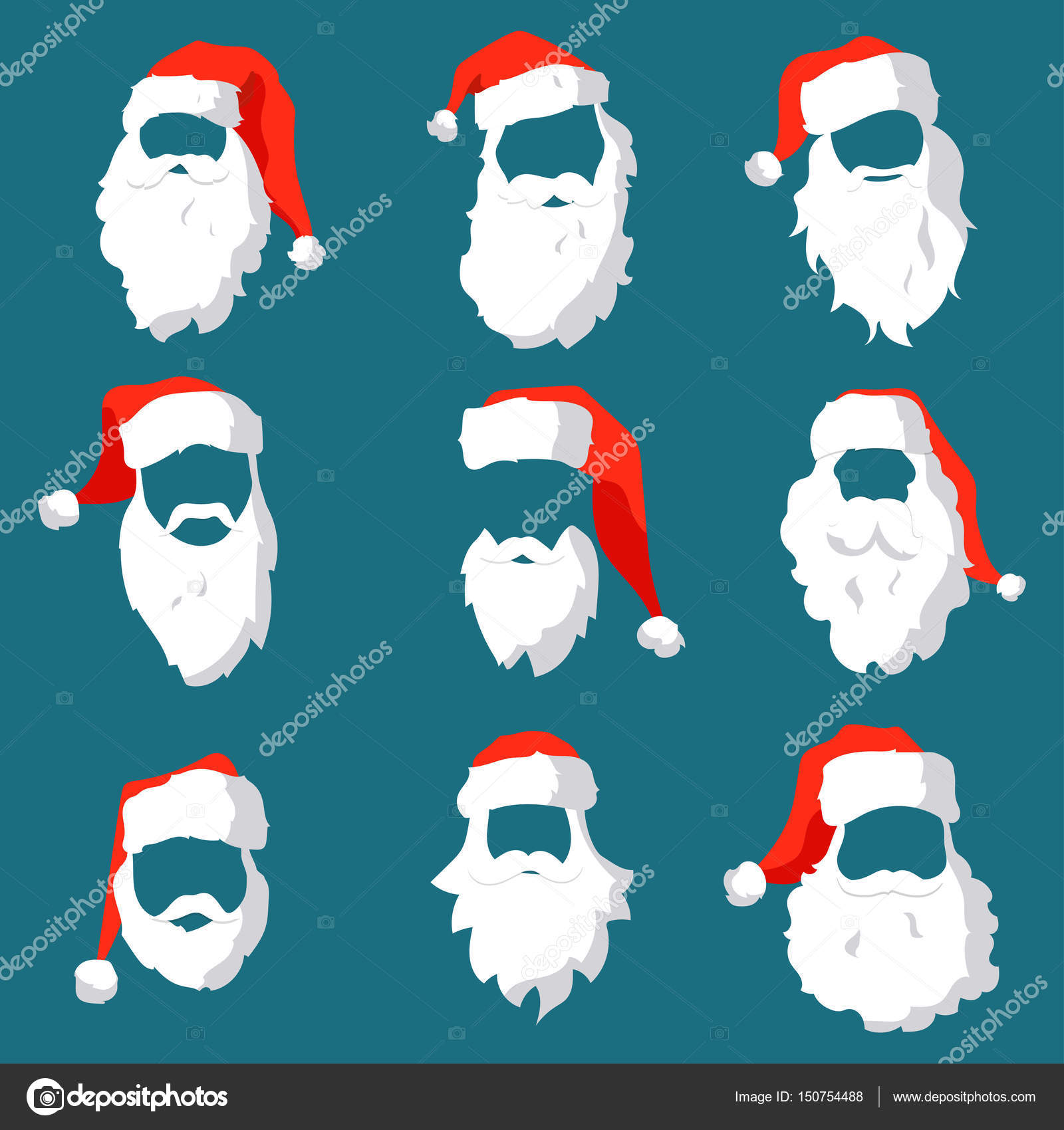 Different Santa hats, moustache and beards template set. Christmas ...