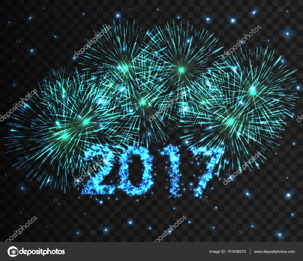 happy new year 2017 firework background greeting card with particle vector illustration stock