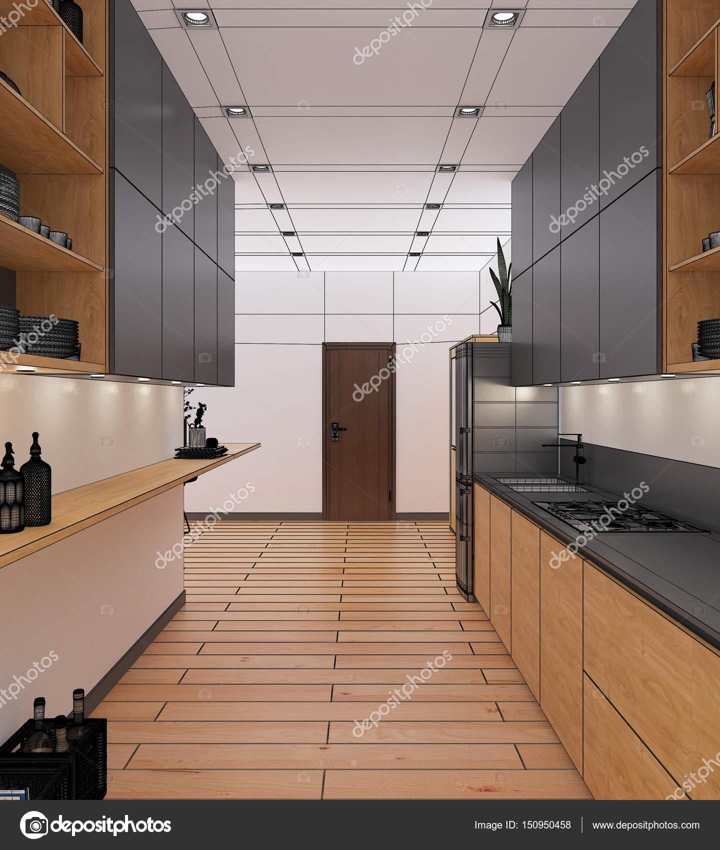 interior 3D-Rendering einer Wohnung — Stockfoto © enrico_lapponi ...