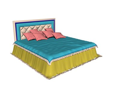 Double bed with bed linen in the bedroom