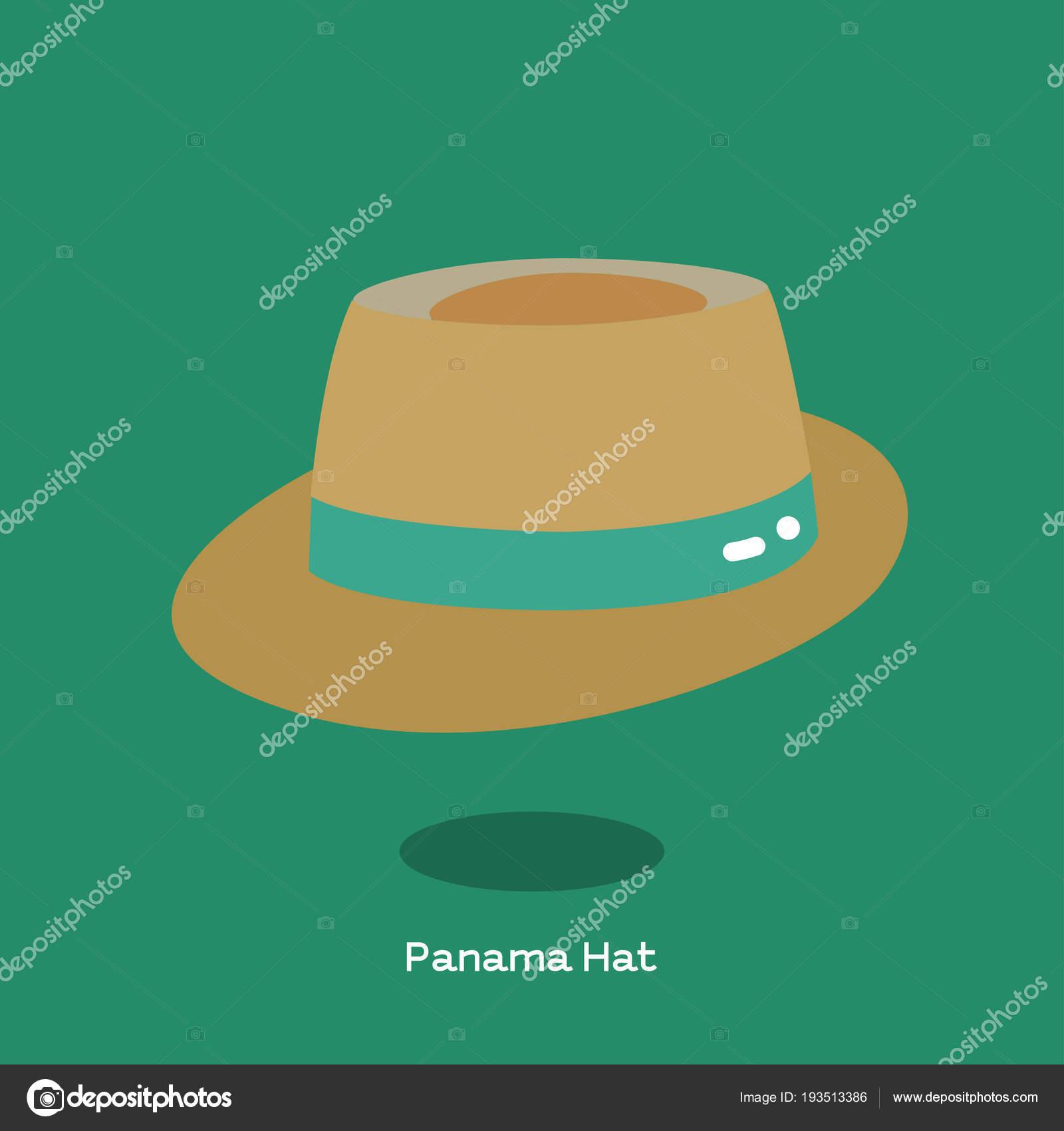 Cappello di paglia di peso leggero con tesa tradizionale e la luce. Cappello  Panama è molto popolare per look casual — Vettoriali di commonthings 62c373a95740