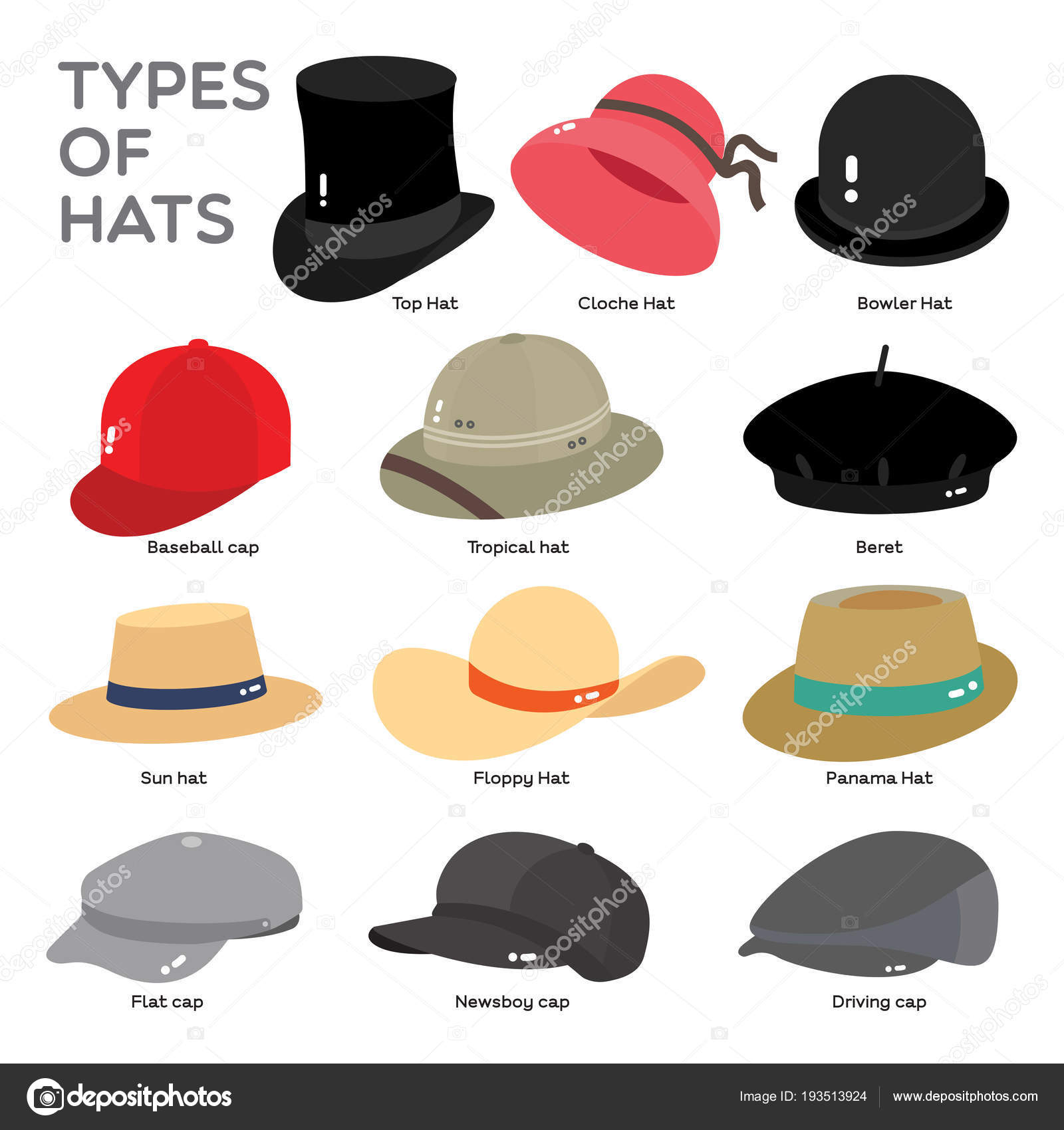 Different types of Hat are illustrate in color on white background — Vector  by commonthings 80cd22f8d99
