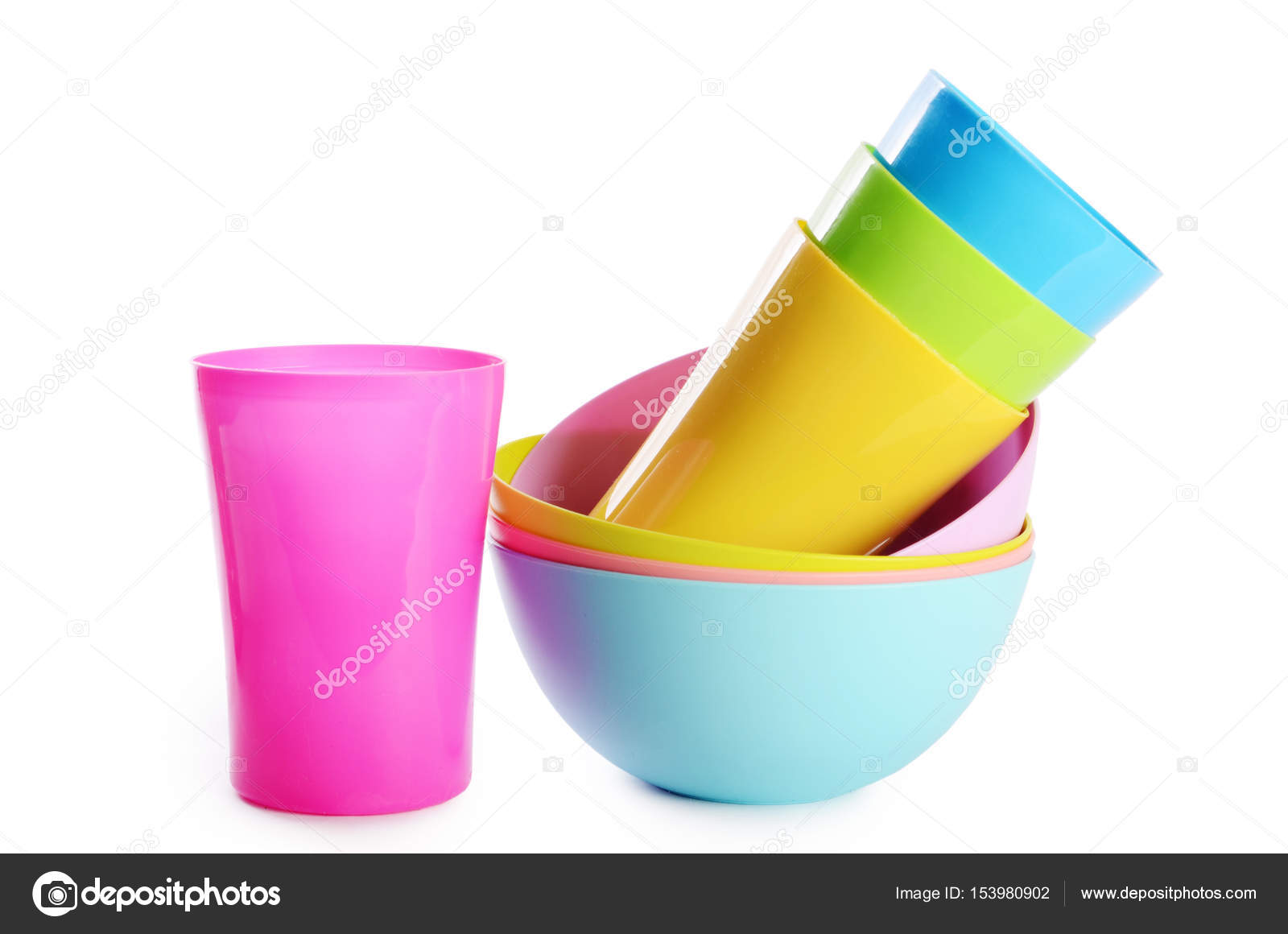Colorful plastic cups and plates \u2014 Stock Photo  sc 1 st  Depositphotos & Colorful plastic cups and plates \u2014 Stock Photo © sveta-yaroslavl ...