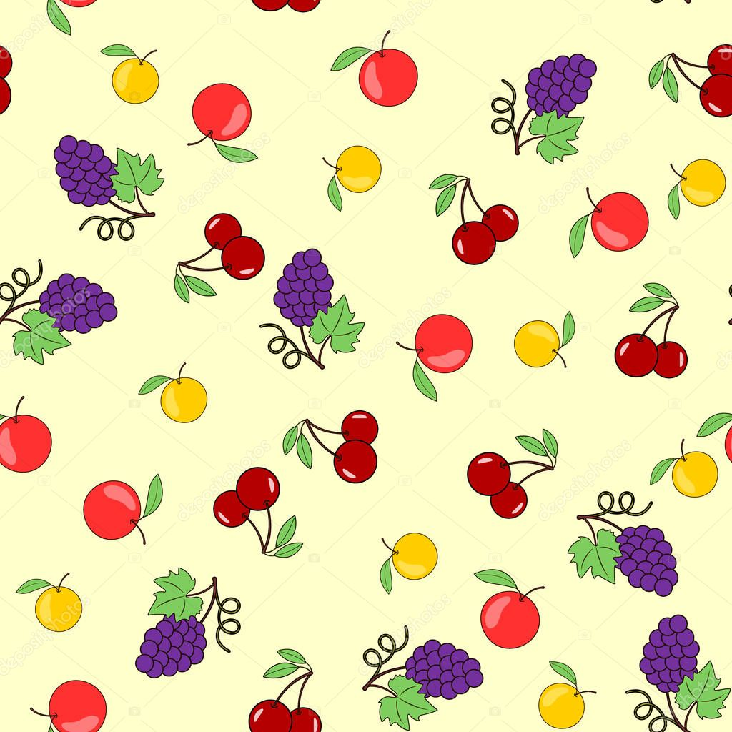 Seamless background with fruits-apples, grapes and cherries. Vector