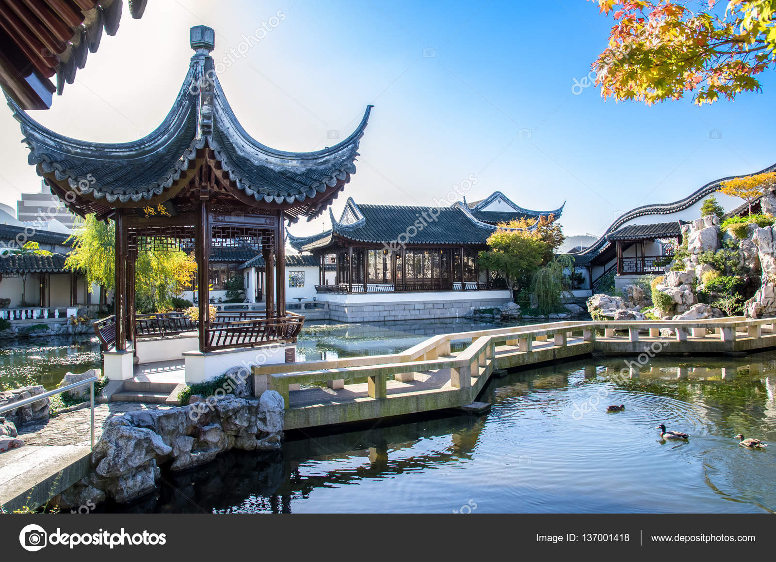 Zigzag Bridge Is One Of The Important Elements Of The Dunedin Chinese  Garden Design.It