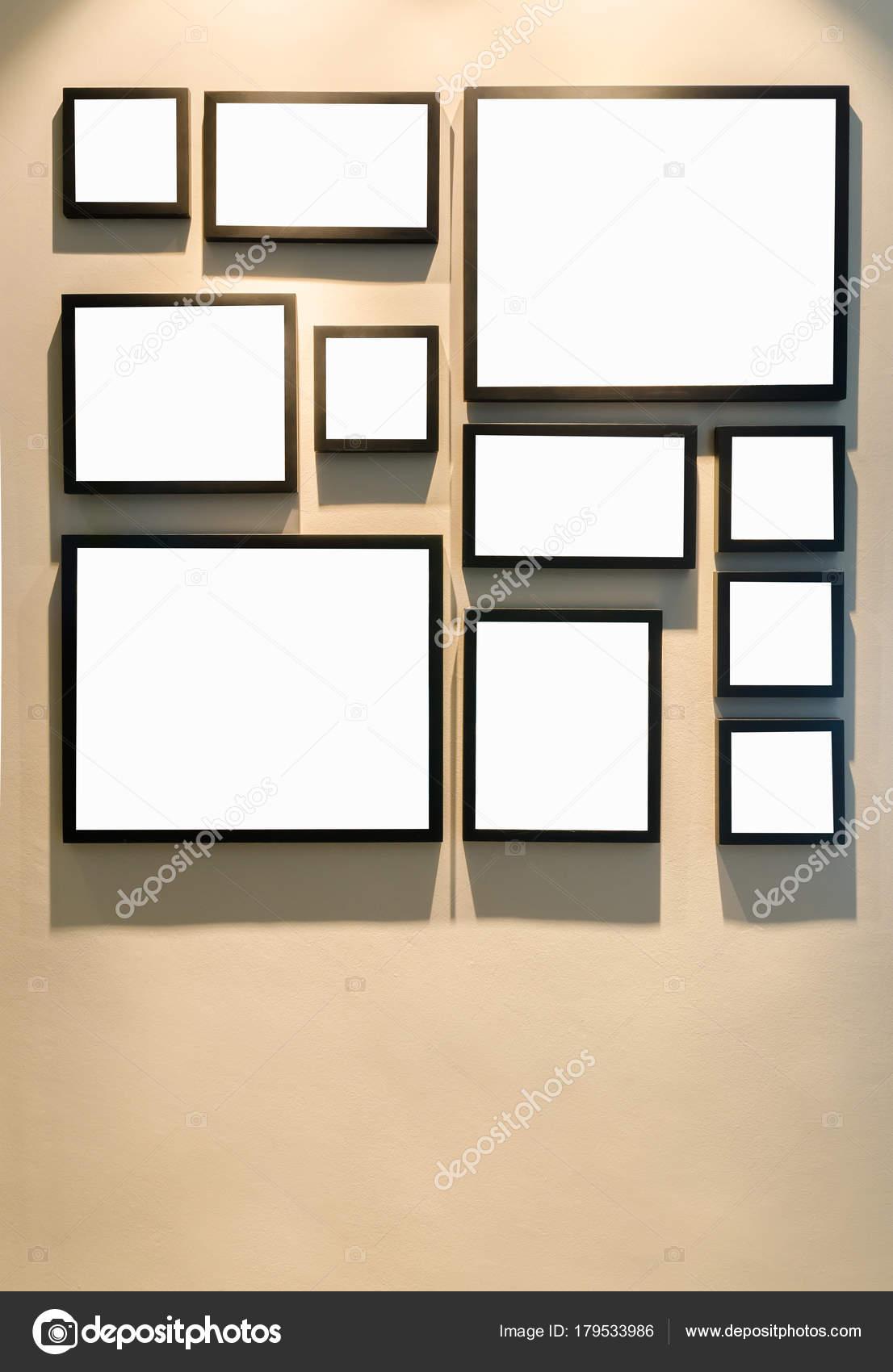 Unterschiedliche Größe Der Schwarzen Bilderrahmen Wand — Stockfoto ...