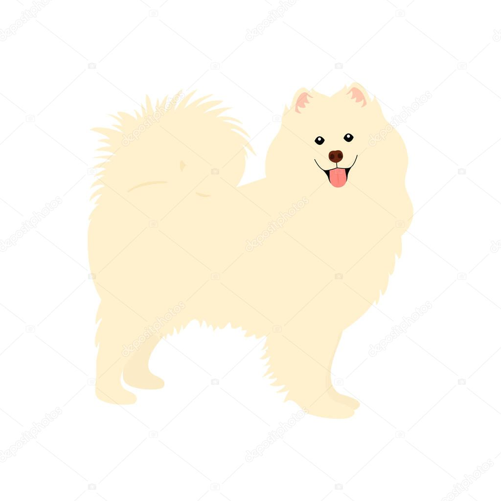 Samoyed Dog Standing Isolated On White Background Cartoon Dog Puppy Icon Vector Hand Drawn Childish Vector Illustration Great For Icon Symbol Logo Children S Book Premium Vector In Adobe Illustrator Ai
