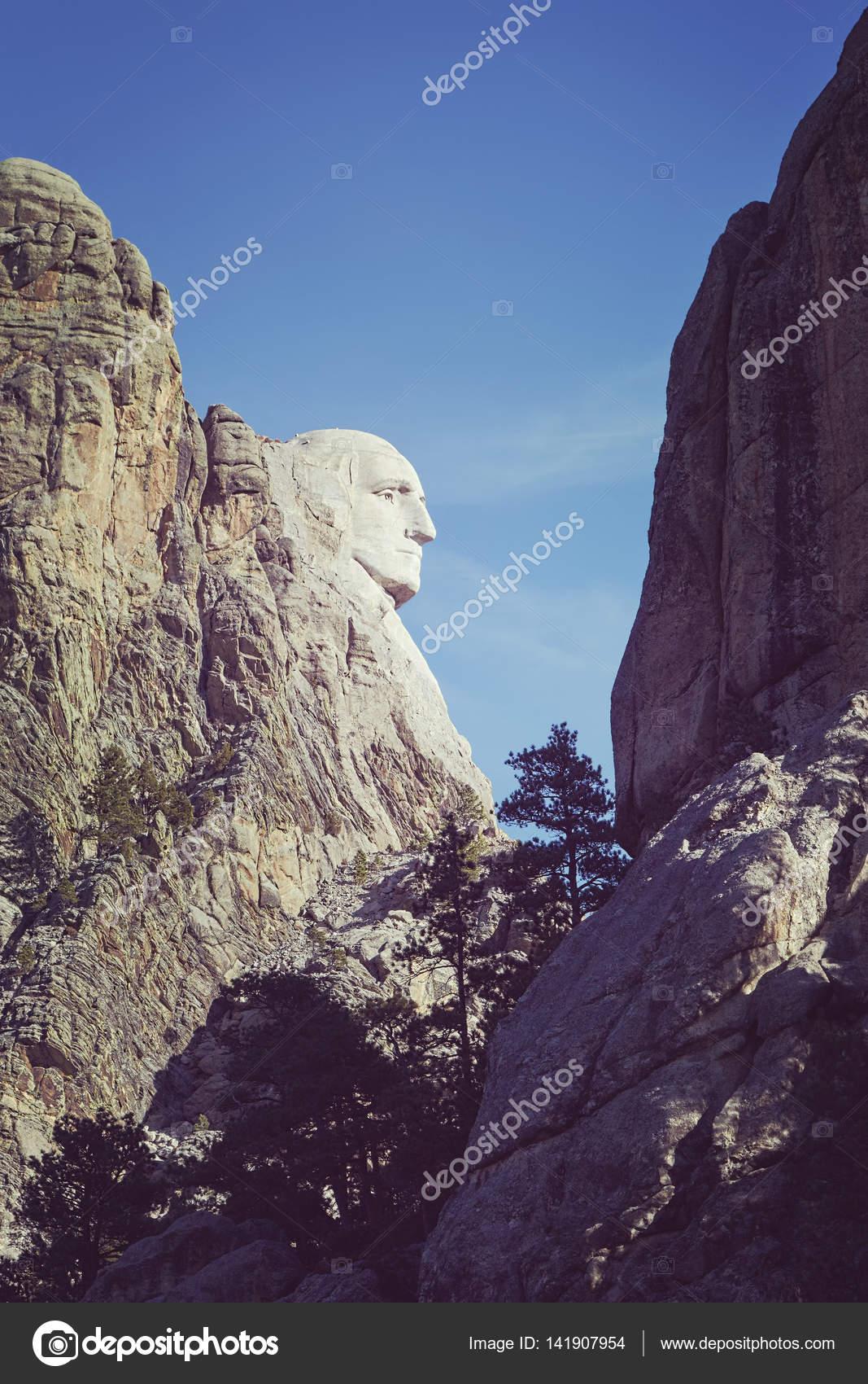 Vista de lateral de tono de color de George Washington en el Monte ...