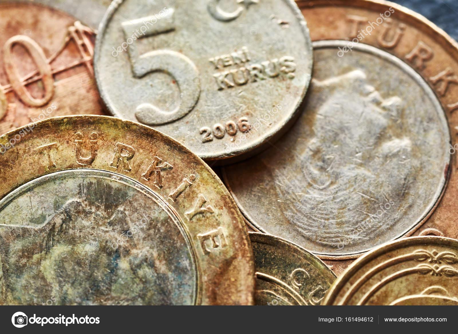 Nahaufnahme Bild Der Alte Türkische Lira Münzen Stockfoto