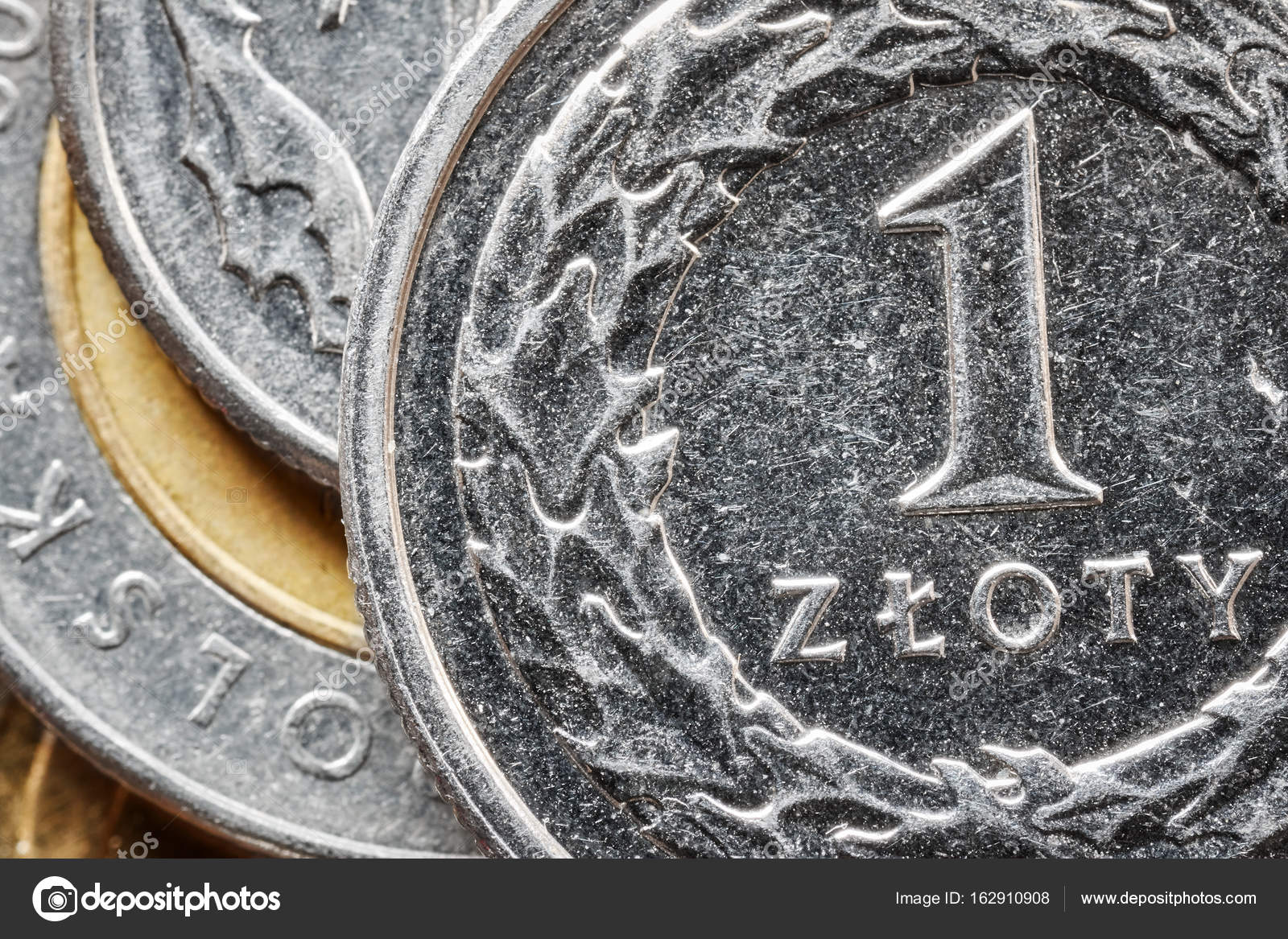 Extreme Close Up Picture Of Polish Zloty Coins Stock Photo
