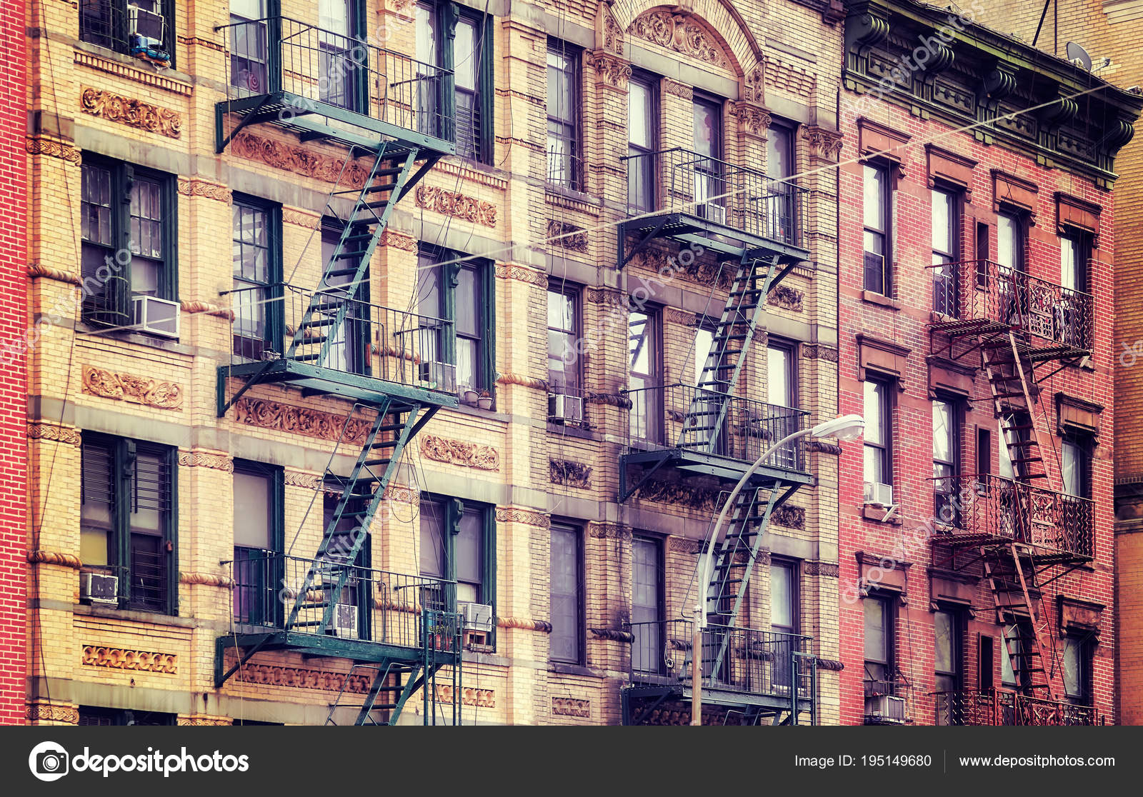 Old Buildings With Fire Escapes Nyc Stock Photo