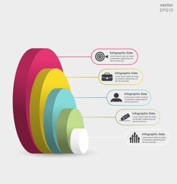 Circle layers 3d infographics.