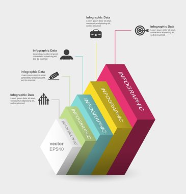 Square layers 3d infographics.