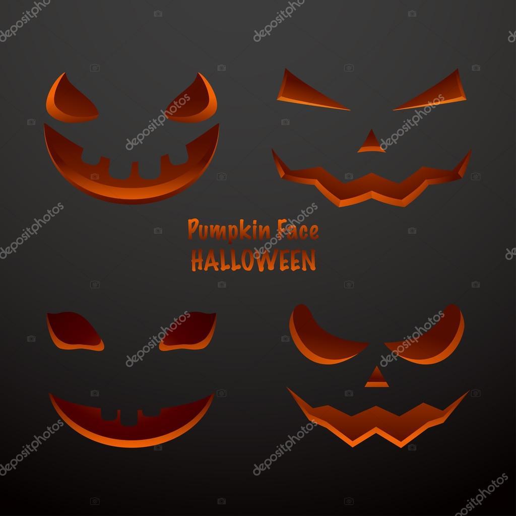 Halloween Kürbis Gesichter Einstellen Stockvektor Chalapan